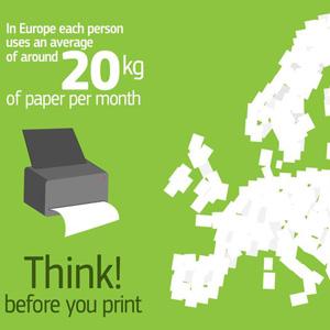 Un european utilizează circa 20 kilograme de hârtie pe lună